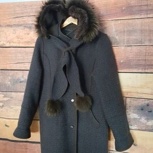 ❄ Real fur accents winter coat removable hoodie